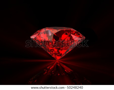 Shiny red diamond on reflective black background