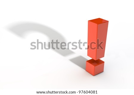 shiny red exclamation mark symbol casts a question mark shadow - stock photo