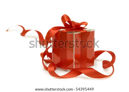 Shiny red gift box on a white background - stock photo