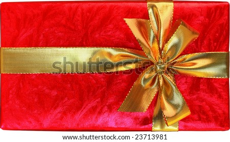 Shiny Red Gift With Gold Bow Isolated On White Background - stock photo