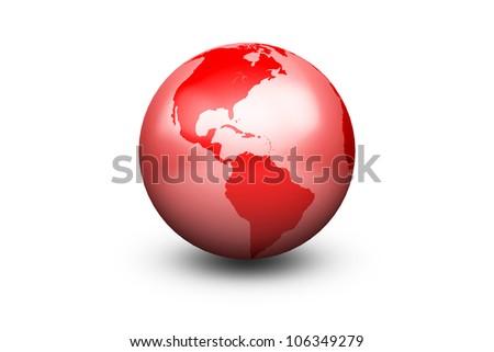 Shiny Red Globe Earth facing America - stock photo
