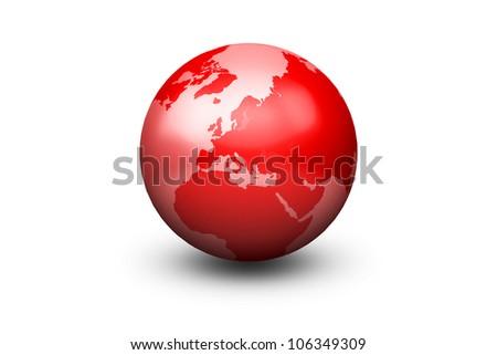 Shiny Red Globe Earth facing Europe - stock photo