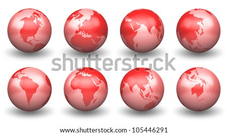 Shiny Red Globe Earth facing South Africa,Australia,East Asia,Europe,Middle East, Arab,North America ,South East Asia - stock photo