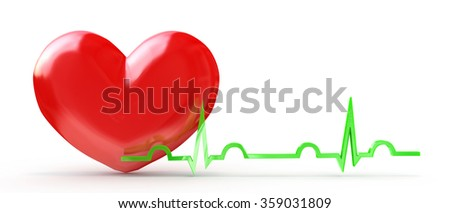 Shiny red heart with cardiogram isolated on white in the design of information related to health - stock photo