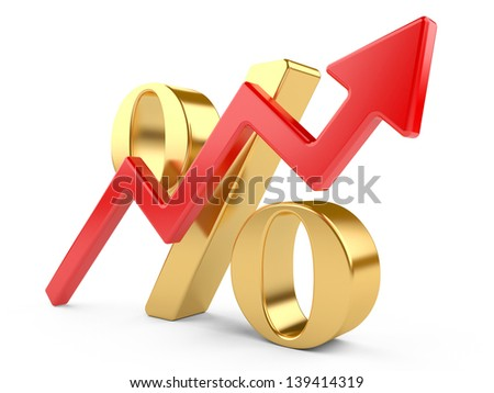 shiny red percent symbol  with an arrow growing upwards - stock photo