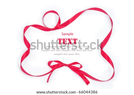 Shiny red ribbon bow on white background with copy space - stock photo