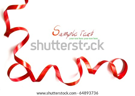 Shiny red ribbon frame on white background with copy space. - stock photo