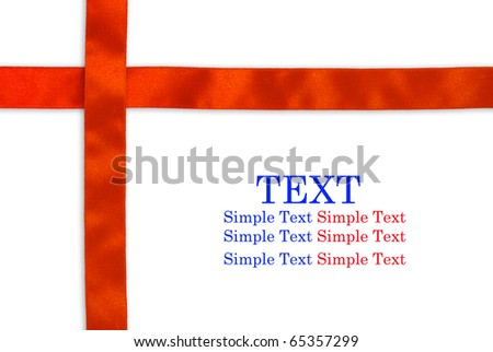 Shiny  red ribbon on white background with copy space for text - stock photo