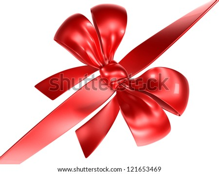 Shiny Red Ribbon with a Bow