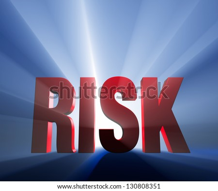 "Shiny red ""RISK"" on dark blue background brilliantly backlit with light rays shining through."