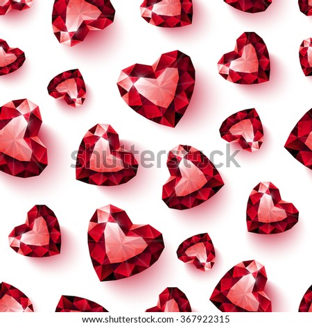 Shiny red ruby heart on white background seamless pattern - stock photo