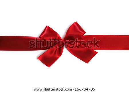 Shiny red satin bow isolated on white background