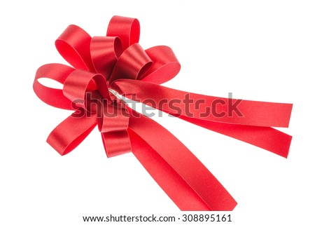 Shiny red satin gift bow isolated on white background
