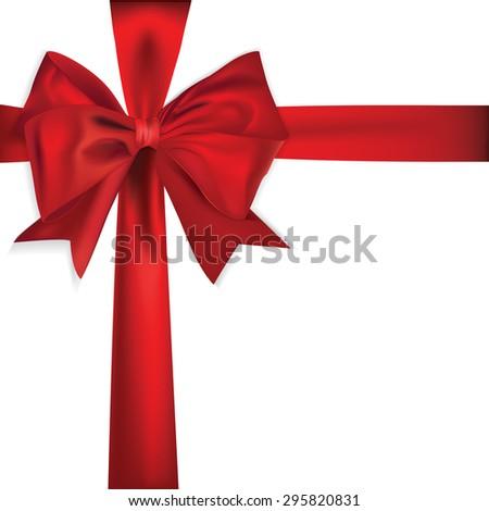 Shiny red satin ribbon - stock photo