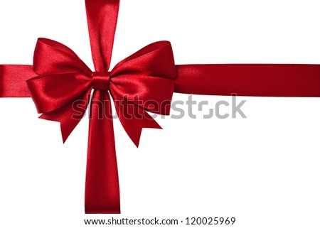 Shiny red satin ribbon on white background - stock photo