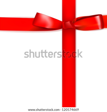Shiny red satin ribbon on white background. - stock photo