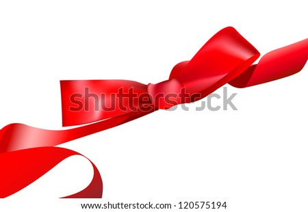 Shiny red satin ribbon on white background.