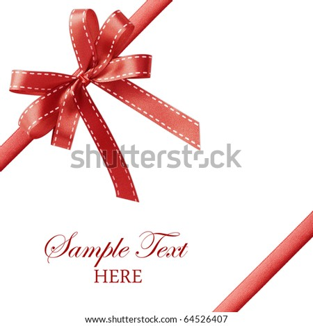 Shiny red satin ribbon on white background with copy space - stock photo