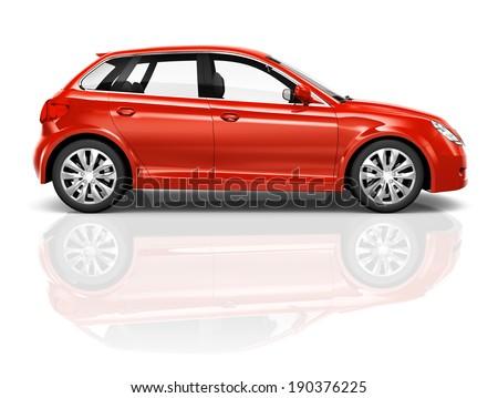 Shiny red sedan studio shot. - stock photo
