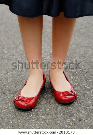 Shiny red shoes - stock photo