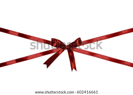 Shiny red silk ribbon bow isolated on white background. Free copy space.
