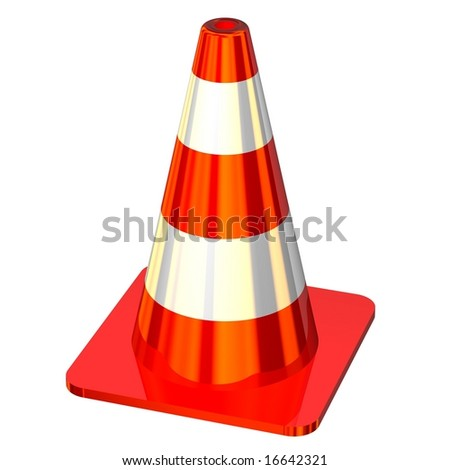Shiny red traffic cone isolated on white - stock photo