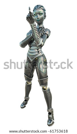 Shiny reflective female android or robot beckoning, 3d digitally rendered illustration - stock photo