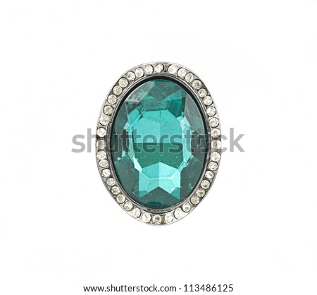 shiny ring isolated on a white background - stock photo