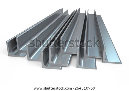 shiny rolled metal L-bar, angle isolated on white background - stock photo