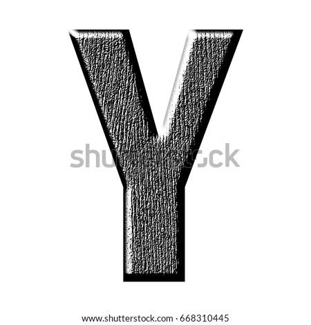 Shiny rough black wood grain textured uppercase or capital letter Y in a 3D illustration with a dark gray glossy wooden effect and bold font style isolated on a white background