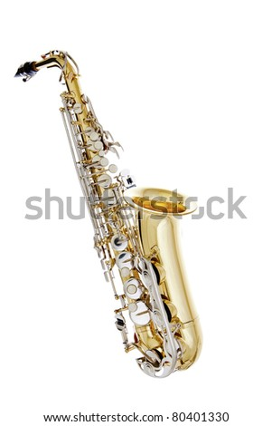 Shiny Saxophone isolated on white background - stock photo