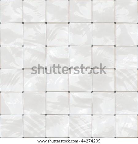Shiny seamless white tiles texture - stock photo