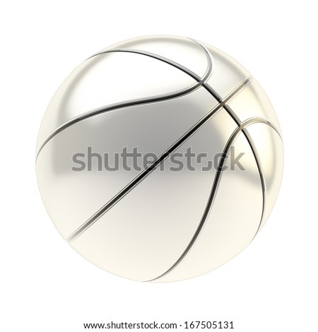 Shiny silver basketball ball 3d render isolated over white background - stock photo