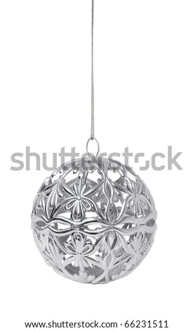Shiny silver Christmas ball hanging, isolated on white background - stock photo