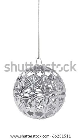 Shiny silver Christmas ball hanging, isolated on white background - stock photo