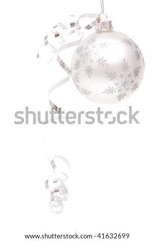 Shiny silver Christmas ornament on white background - stock photo