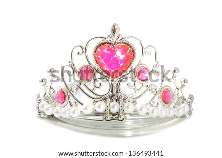 Shiny silver crown with pink heart isolated over white - stock photo