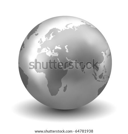 Shiny Silver Earth Globe - stock photo
