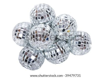 shiny silver glass disco ball - stock photo
