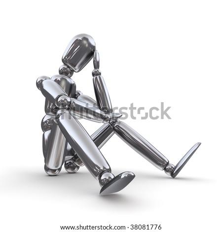 shiny silver lay figure sitting on a white ground thinking - stock photo