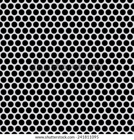 Shiny silver metal pattern with reflective round holes  - stock photo