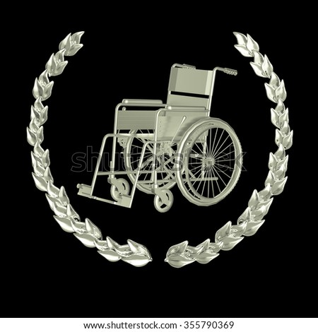 shiny silver metal wheelchair surrounded with metal laurel wreath achievement badge 3d rendering