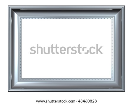 Shiny silver rectangular frame isolated on white background. Computer generated 3D photo rendering. - stock photo