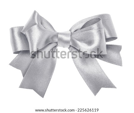 Shiny silver satin ribbon on white background - stock photo