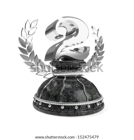 Shiny silver second place trophy with marble base and white background