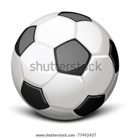 Shiny soccer ball over white