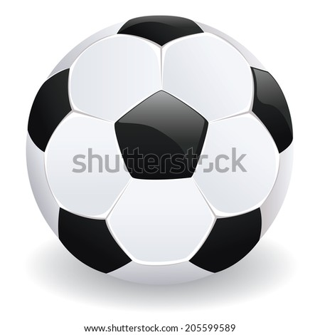 Shiny soccer (football) ball in black and white.