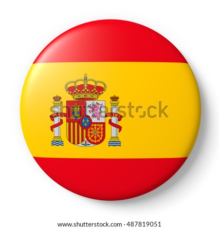 Shiny spain badge with spanish flag. 3d render, 3d illustration