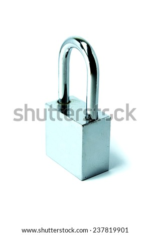 shiny stainless steel padlock on a white background