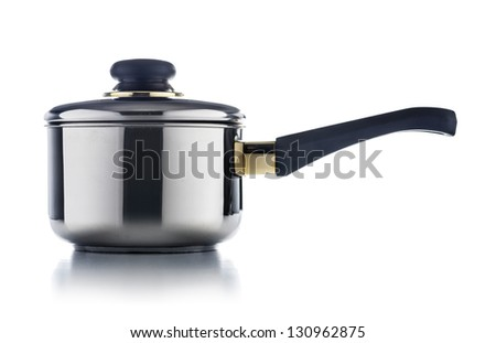 Shiny Stainless Steel Pot Isolated on White Background - stock photo